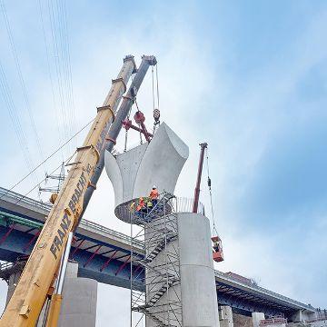 Brückenpfeiler in Halbfertigbauweise